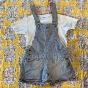 Denim - *size 1* cotton overalls. Shirt included!